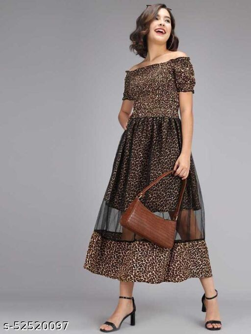 Alexa India Women Fit and Flare Cheetha Printed Dress