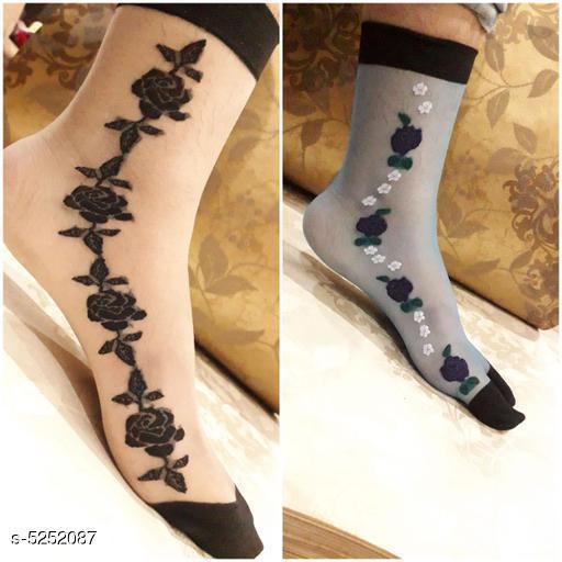 Trendy Lycra Women's Socks (Pack Of 2)