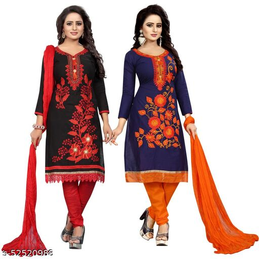KRISHNA CREATION Women's Cotton Un-Stitched Dress combo Material