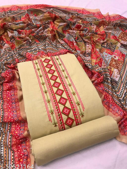 Beige Cotton Blend Embroidered Dress Material With Printed Dupatta