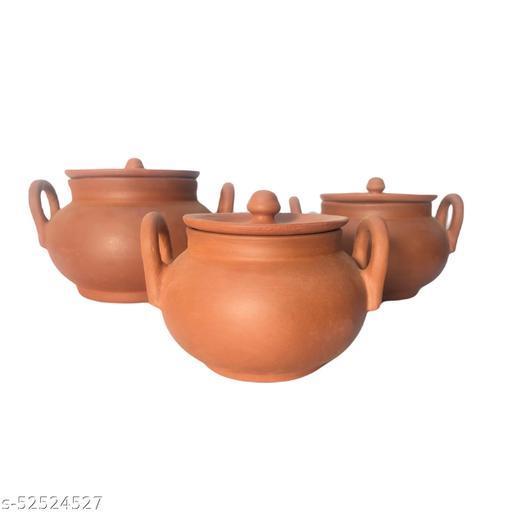 terracotta clay handi plain for cookware set of 3