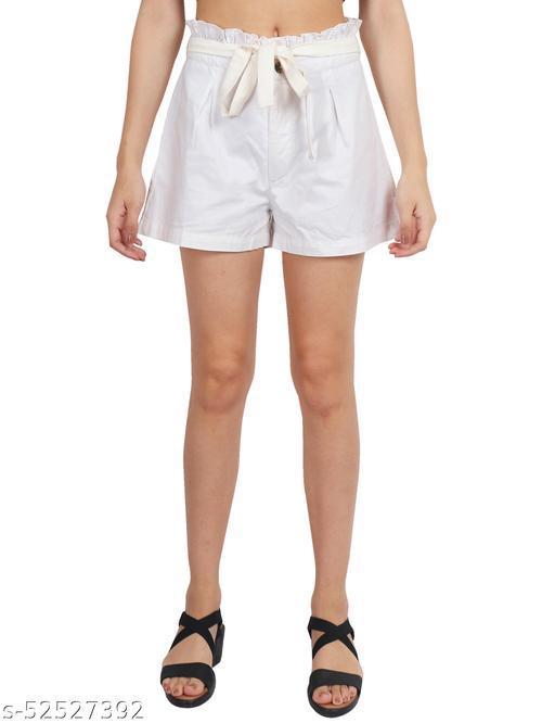 D'Vesh Regular Fit Women Off White Ruffle Shorts