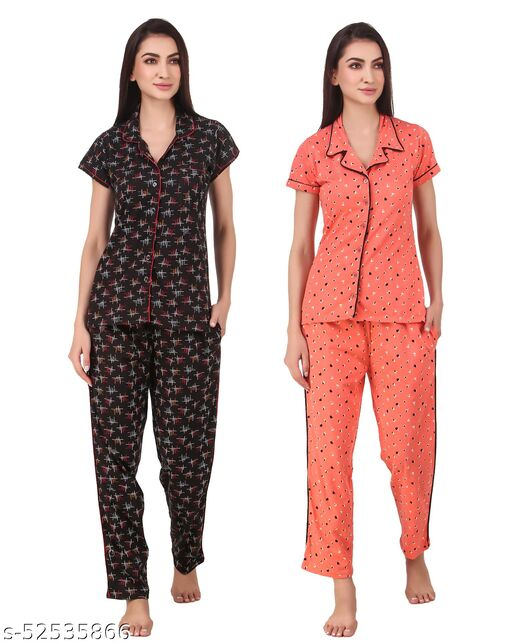Mafia Western Women's Cotton Printed Nightsuit - Pack of 2