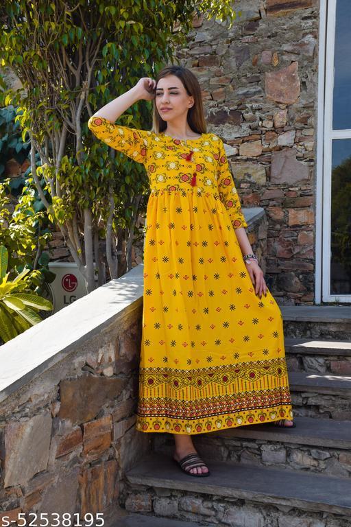 Bhavna's Rayon Floral Printed Yellow A-Linelong Kurti/Kurta