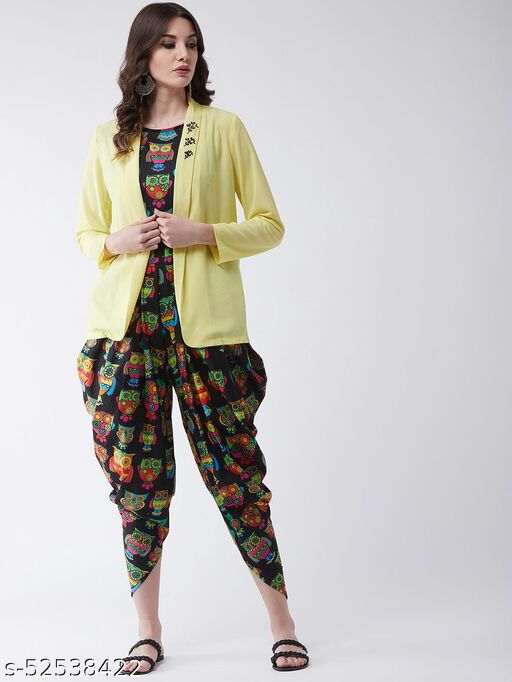 Pannkh Women's Owl Printed Jumpsuit with Embroidered Shrug