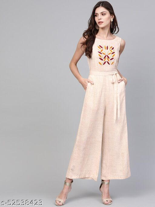Pannkh Women's Allover Printed Jumpsuit With Embroidery