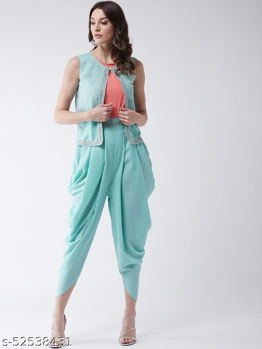 Pannkh Women's Pastel Embroidered Jumpsuit With Sleeveless Shrug