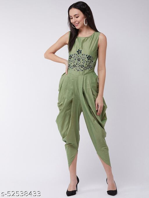 Pannkh Women's Embroidered Cowl Jumpsuit