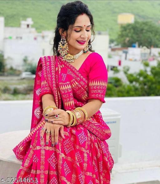 Fashionseye Women's  Pure Soft Lichi Silk Saree  With Blouse piece