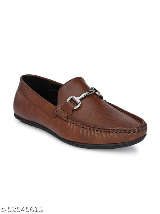Guava Texture Embossed Slip-on Driving Loafer Shoes - Brown