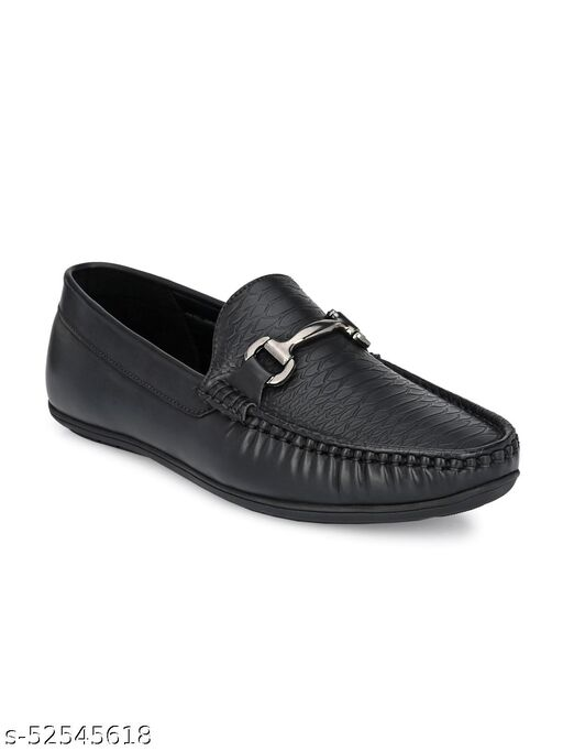 Guava Texture Embossed Slip-on Driving Loafer Shoes - Black