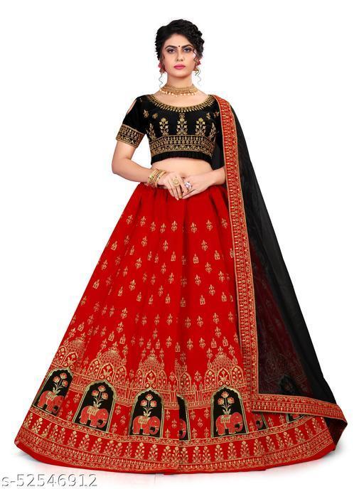 KRISHNA CREATION Women's Velvet Semi-Stitched Lehngha Choli