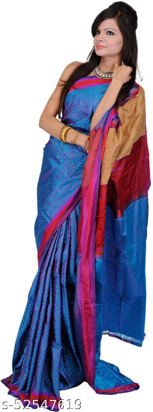 Exotic India Meadow-Violet Hand-woven Banarasi Sari and Jute Weave on Aanchal