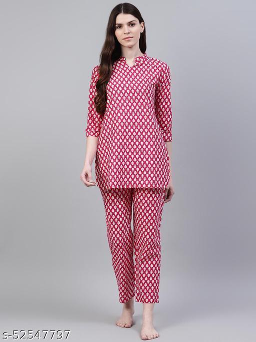 Stylum Women's Floral Print Cotton Night Suit Set