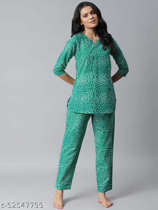 Stylum Women's Bandhani Print Cotton Night Suit Set