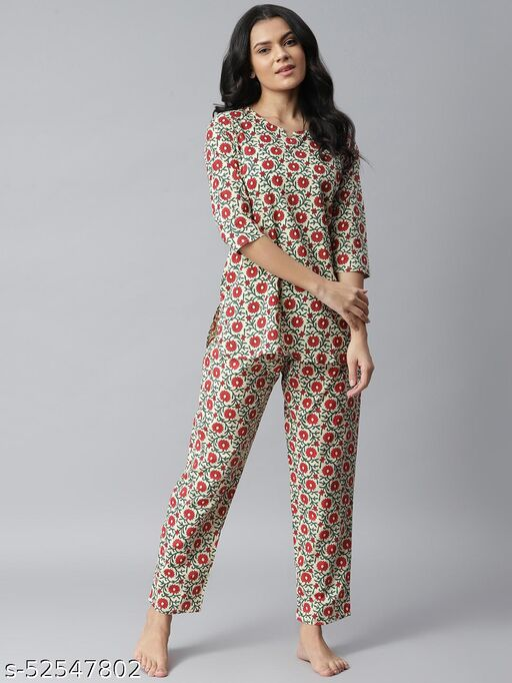 Stylum Women's Floral Printed Cotton Night Suit Set