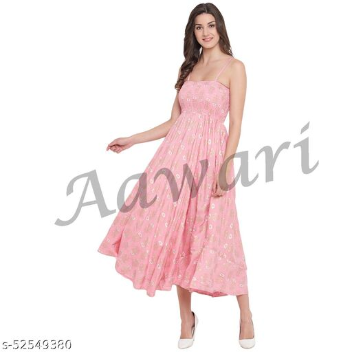 Aawari Cotton Printed Bobbin Gown For Girls and Women (AM027)