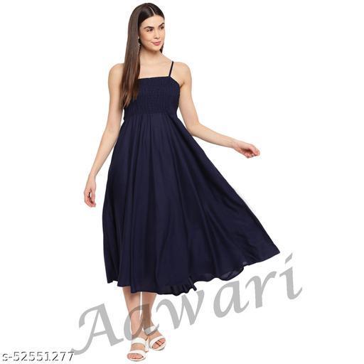 Aawari Rayon Bobbin Gown For Girls and Women Navy Blue