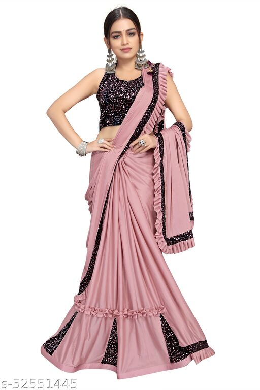Women's Readymade Lehnga Saree With Sequence Blouse Piece