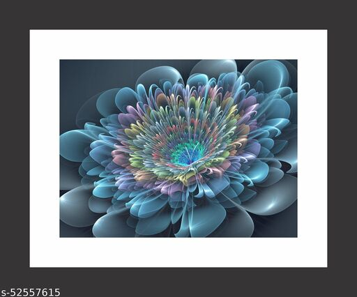 MEENAZ Collection BLUE WAVES FLOWERS Acrylic Photo Frame Painting