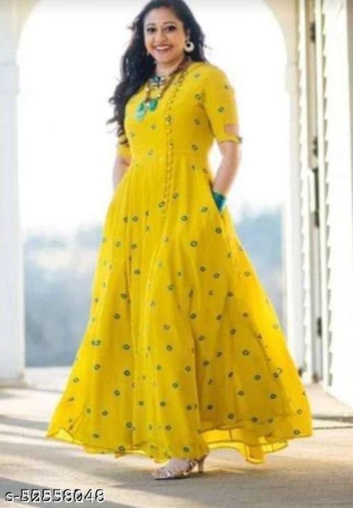Women Rayon Printed Yellow Long Kurti