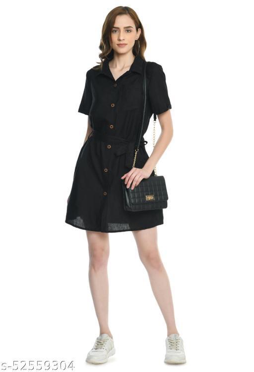 Camellias Stylish Black Shirt Dress for Women