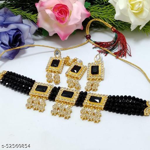 Crystal Shine Beads & Kundan Ethnic Choker Necklace & Earring Set For Women