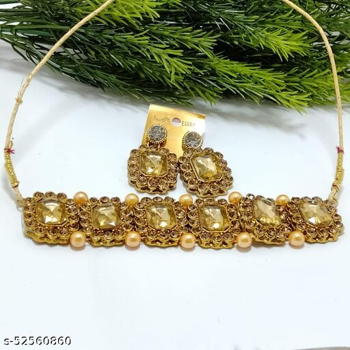 Crystal Shine Gold Stones Studded Contemporary With pearls Necklace Set For Women
