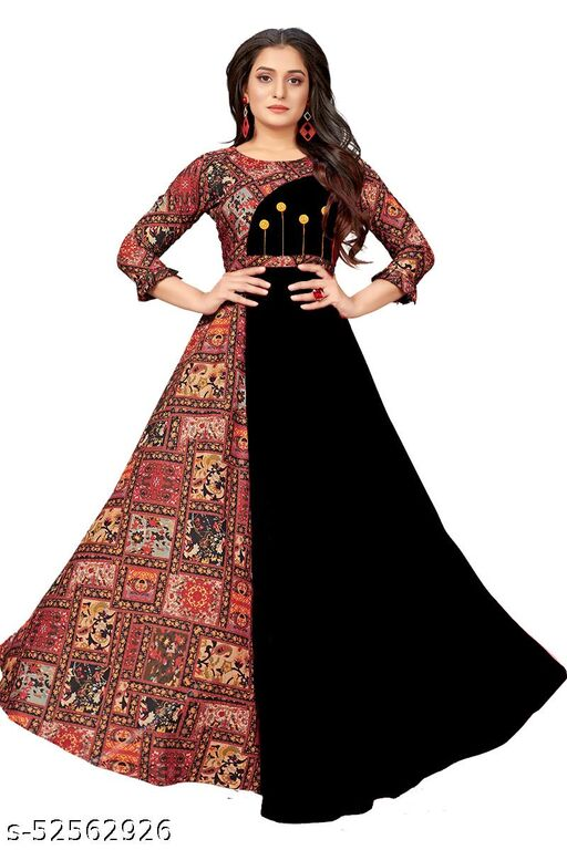 Manshav Women's Fit And Flare Fancy Western Cotton Gown Gown