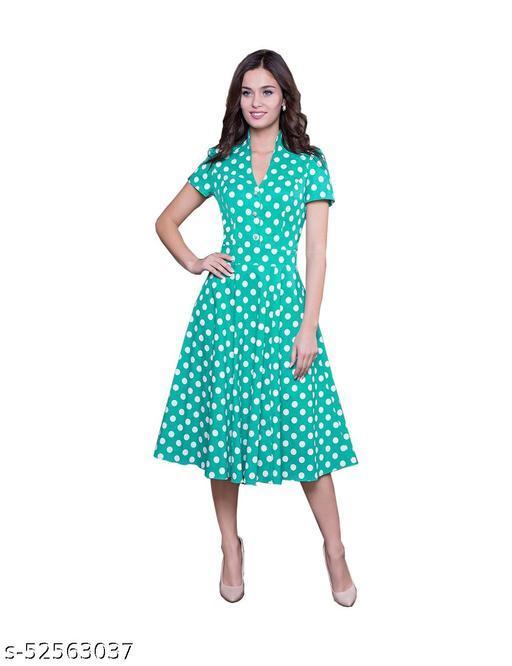 Ritsla Women's Fit And Flare Fancy Western Cotton  Western Midi Dress