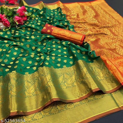 Soft Lichi  silk saree with Beautiful Gold zari