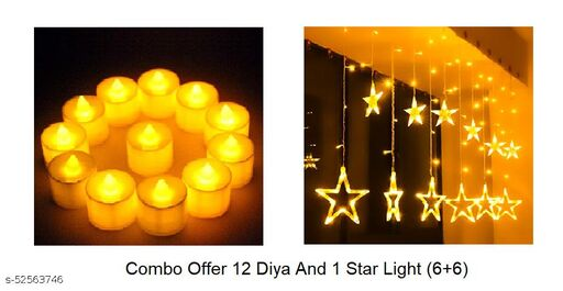 Cipher Shops 12 Stars LED Curtain String Lights Window Curtain Led Lights for Decoration with 12 pes yellow diya for home décor (Pack of 1)