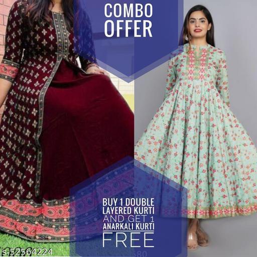 combo of double layered kurti and anarkali kurti