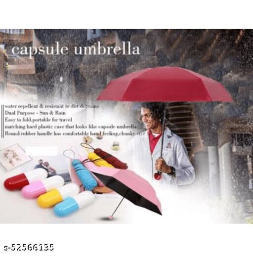 Portable 5 Fold Compact Umbrella with Cute Capsule Case