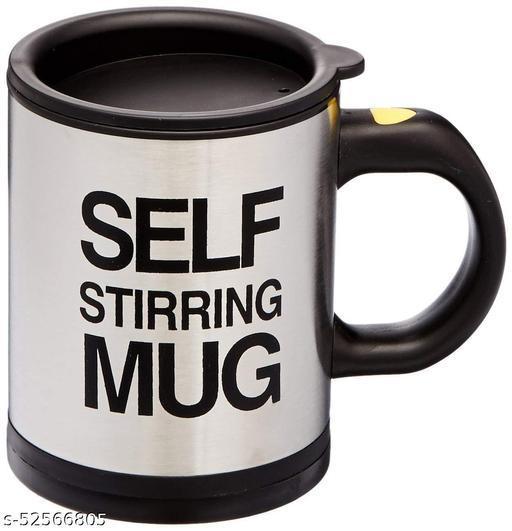 Automatic Self Stirring Stainless Steel Coffee Mixing Blender Mug (Plastic Interior) (Sliver)