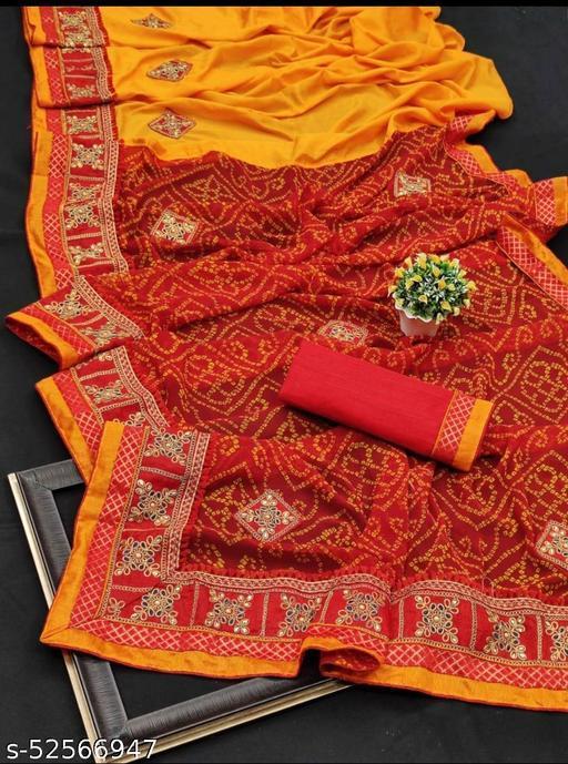 Half and half Bandhani saree, vichitra silk