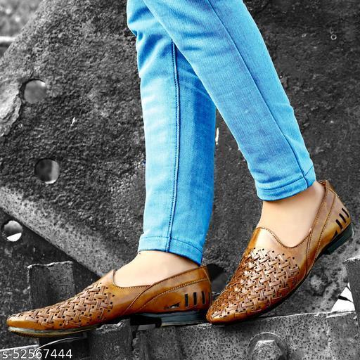Baillyzard Men's Tan Synthetic Slip-on Nagra/Mojari/Juti