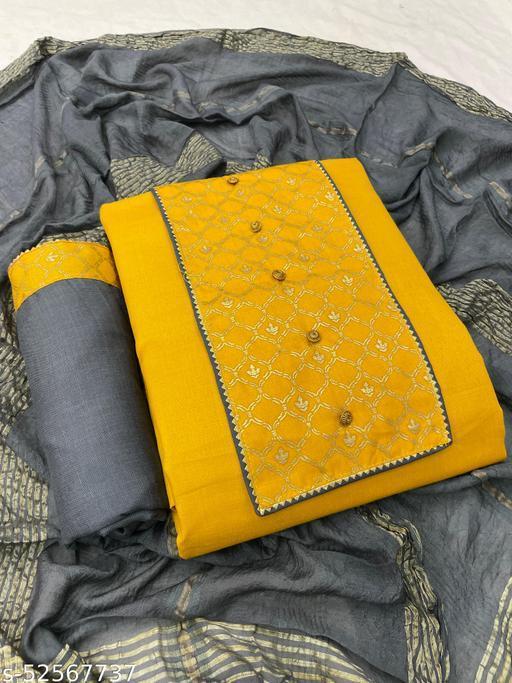 SheWill Women's Mustard & Grey Gotta Patti With Button Dress Material