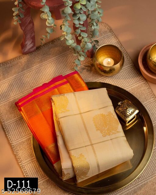 Ethnic studio presents Cream Kanchipuram Silk Saree Enchants With A Striking Confluence Of Gold Zari Multiline Checks And Elegant Dainty Zari Florets