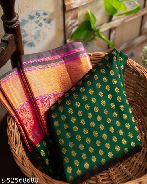 Ethnic studio presents Kanchipuram silk brocade green saree is all about impactful presence.