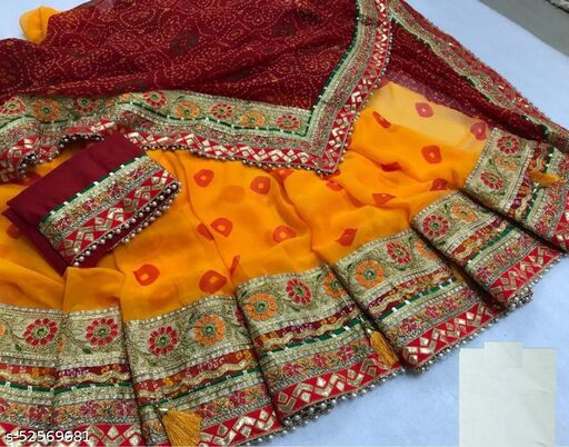 pure Georgette With multi color in skt With gotta patti work With out joint