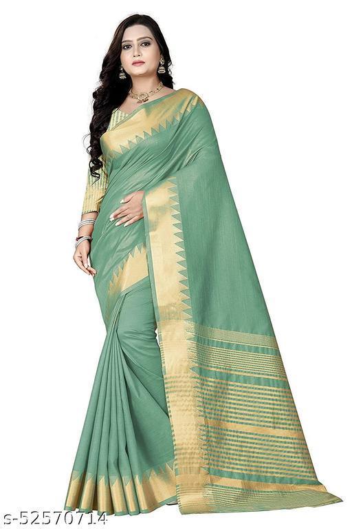 Women's Plain weave Silk Blend Saree