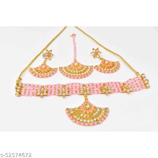 American Diamond Studded Pearl Choker set with Earrings and maangtika
