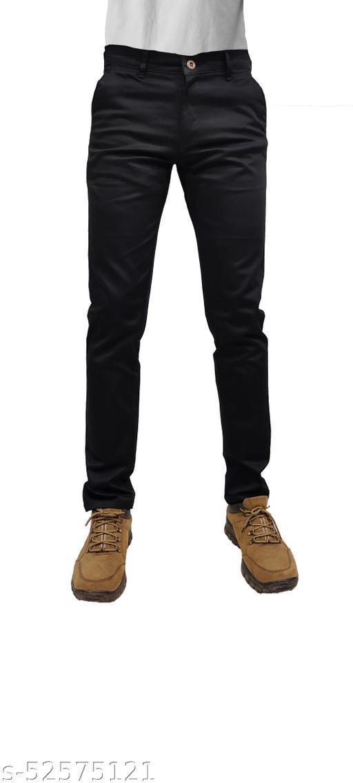 True Colors Mens Cotton Casual Solid Trouser/pant Black-AG