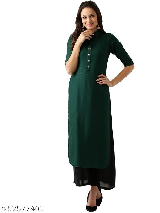 Women's Rayon Solid Stitched Green Color Kurti
