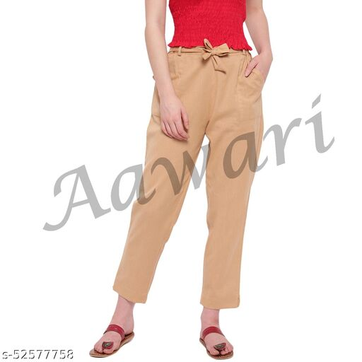 Aawari Cotton Trouser Pants with Belt Almond