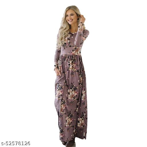 Manshav Women's Fit And Flare Fancy Cotton Western Gown