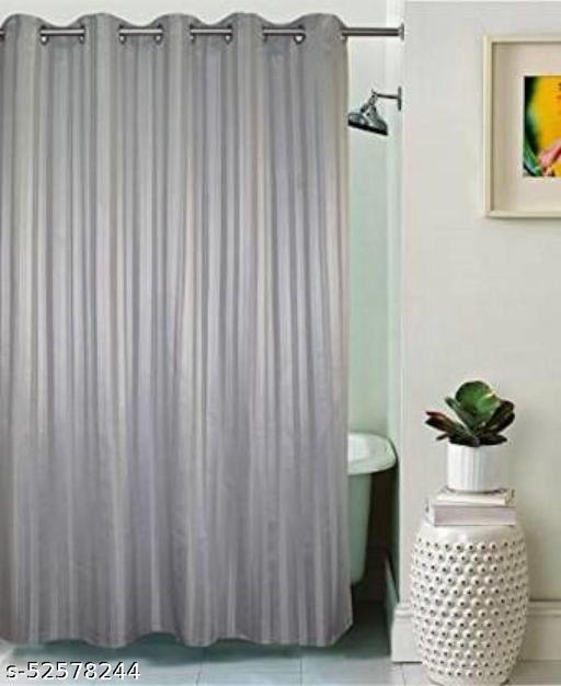 "CASA-NEST Stripe Design Waterproof Shower Curtain for Bathroom, 7 Feet PVC Curtain with 8 Hooks – 54""x 84"", Grey Color"