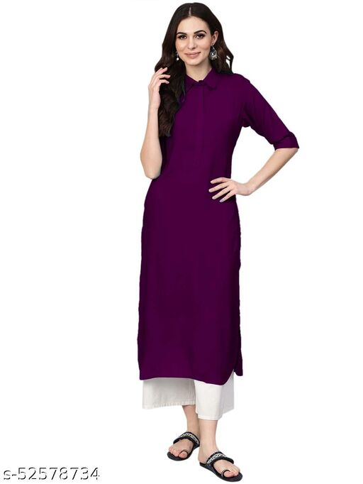 Women's Rayon Solid Stitched Wine Color Kurti