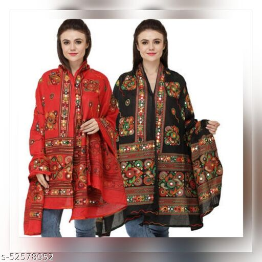 100%Cotton Embroidery Paper Mirror Work Dupatta For Women's